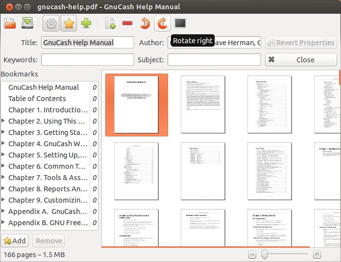 Copie d'écran de PDFMod pour modifier des fichiers PDF