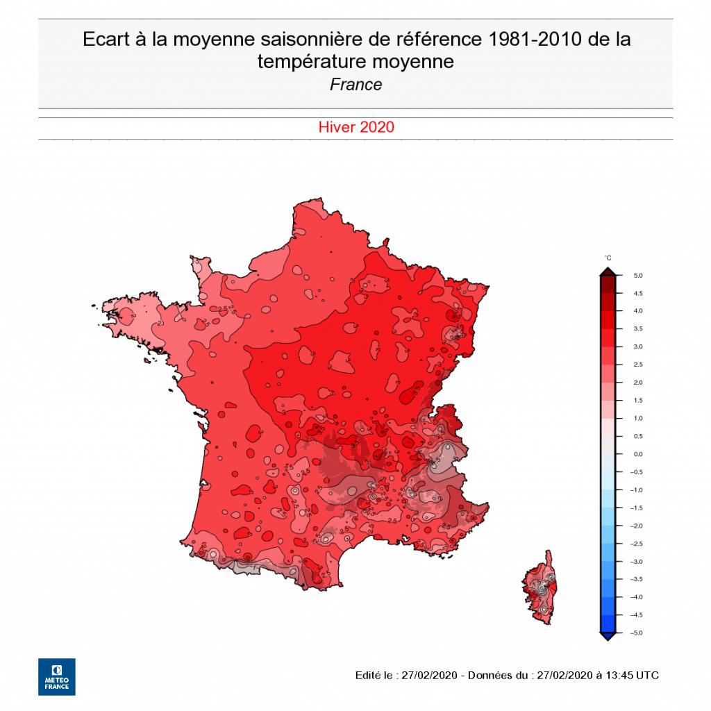 Toute la France plus chaude en hiver 2019-2020 que depuis 1981